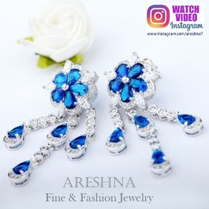 Blue Luxury Floral Dangle Earrings